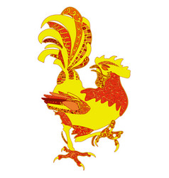 colored hand drawn rooster zentangle vector image