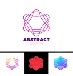 Colorful abstract line star logo design vector