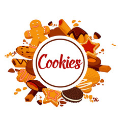 delicious crispy cookies with chocolate and cream vector image vector image