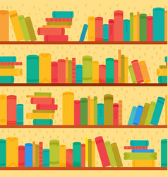 different books on bookcases seamless pattern vector image