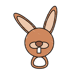 drawing rabbit face animal vector image vector image