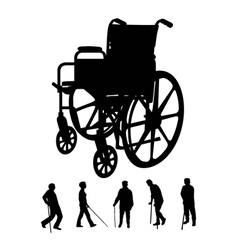 Elderly and wheel chair silhouettes vector
