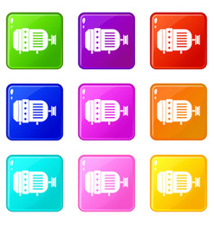 Electric motor icons 9 set vector