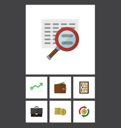Flat icon finance set of portfolio interchange vector