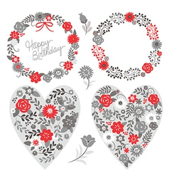 floral frames and graphic elements vector image vector image