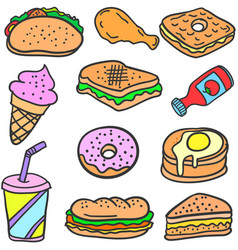 food various collection of doodles vector image vector image