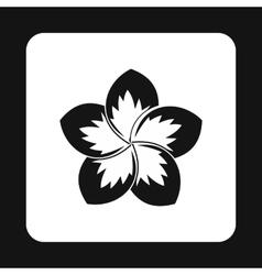 Frangipani flower icon simple style vector