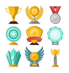 golden trophy cups and awards set vector image vector image