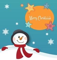 Merry christmas snow man design vector