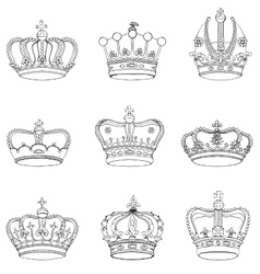 Set of 9 detailed crowns vector image