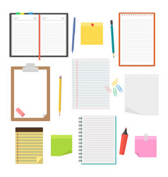 Set of notebooks diaries and sheets of paper vector