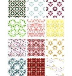 Set seamless geometric patterns - circles swirls vector image