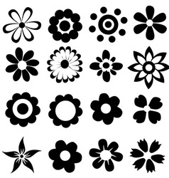 silhouettes of simple flowers vector image vector image