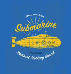 tee print marine ship or sea submarine transport vector image vector image