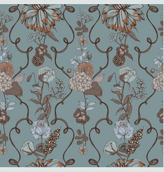 vintage wallpaper background floral seamless vector image vector image