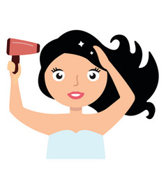 woman drying her hair with hairdryer vector image vector image