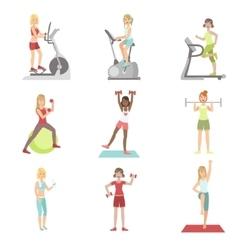 Women training in gym set vector