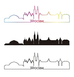 Wroclaw skyline linear style with rainbow vector image
