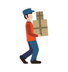 Delivery man package shipping logistic icon vector