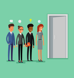 Business people standing in a line vector
