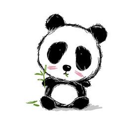 hand drawn panda bear design on white background vector image