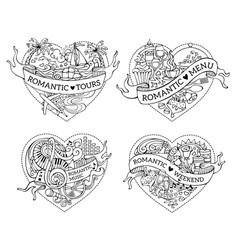 set of four hand-drawn doodles hearts vector image