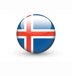 Round icon with national flag of iceland vector