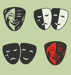 Festive masks silhouette in black on a color vector