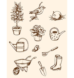 Vintage hand drawn garden tools vector