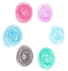 Set of wax crayon circle spots isolated on white vector