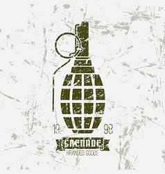 Hand grenade print vector