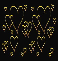 Gold heart shape pattern vector