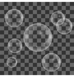 Set of transparent soap water bubbles vector