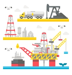 Flat design oil rig set vector