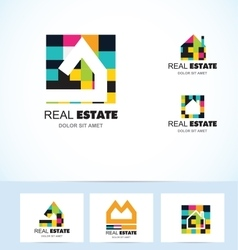 Real estate tiles house logo vector