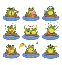 Frogs Sitting On The Stone Character Set vector image
