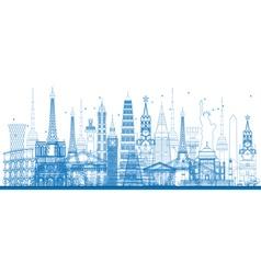 Outline world famous landmarks vector image