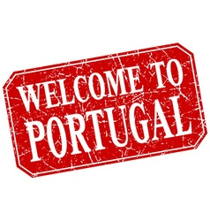 Welcome to portugal red square grunge stamp vector