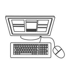 Computer topview icon vector
