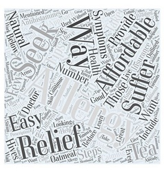 Affordable ways to seek allergy relief word cloud vector
