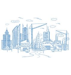 Big city landscape with different buildings vector