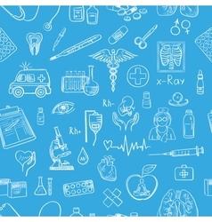 Blue hand draw medicine pattern vector image vector image