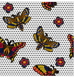 butterfly embroidery for textile design vector image vector image