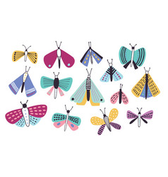 collection of bright colored cartoon moths of vector image