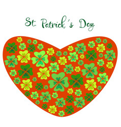 color clover in the shape of a heart on st vector image vector image