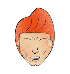 drawing man head hairstyle vector image