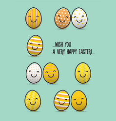 easter greeting card with smiley eggs vector image vector image