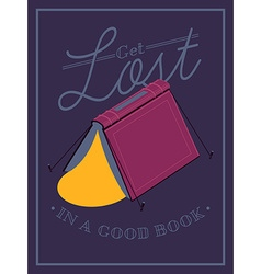 Get lost in a book poster vector