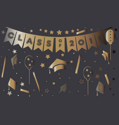 Graduation poster in gold on purple vector