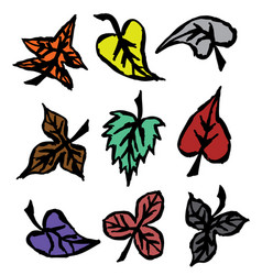 Grunge autumn leaves hand drawn vector